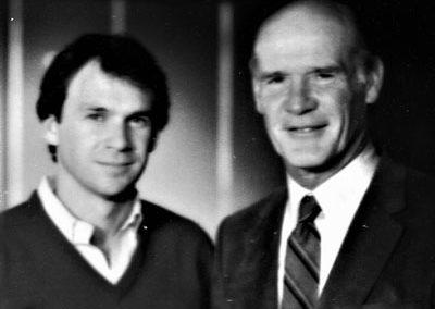 With Tom Landry filming Dallas Cowboys Christmas 85